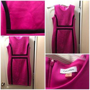 Hot pink/black sleeveless CK dress size 12